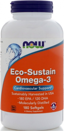 NOW Eco-Sustain Omega 3 EPA180 / DHA120 (180 кап)