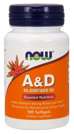 NOW Vitamin A&D 10000/400 МЕ (100 капс)