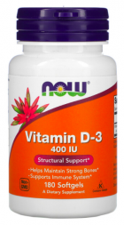 NOW Vitamin D-3 400 МЕ (180 капс)