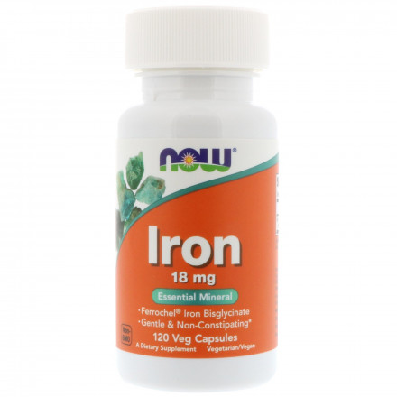 Iron 18 mg NOW (120 капс)