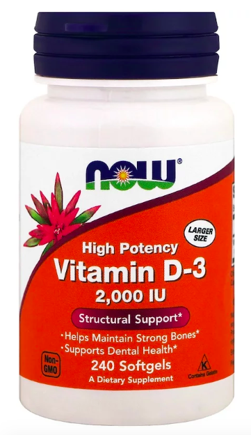 NOW Vitamin D-3 2000 IU (240 кап)